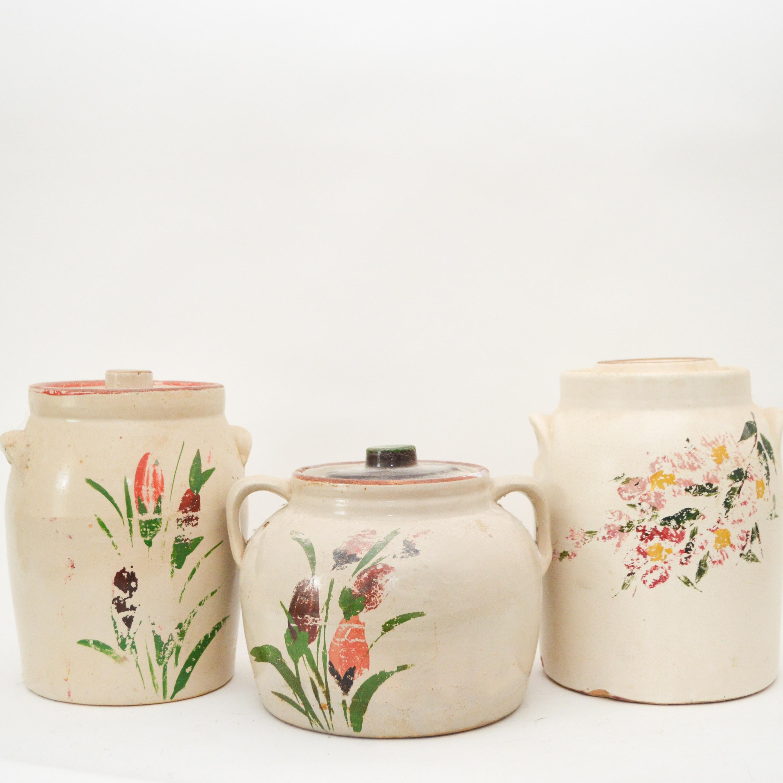 Set of Vintage Hand-Painted Stoneware Jars