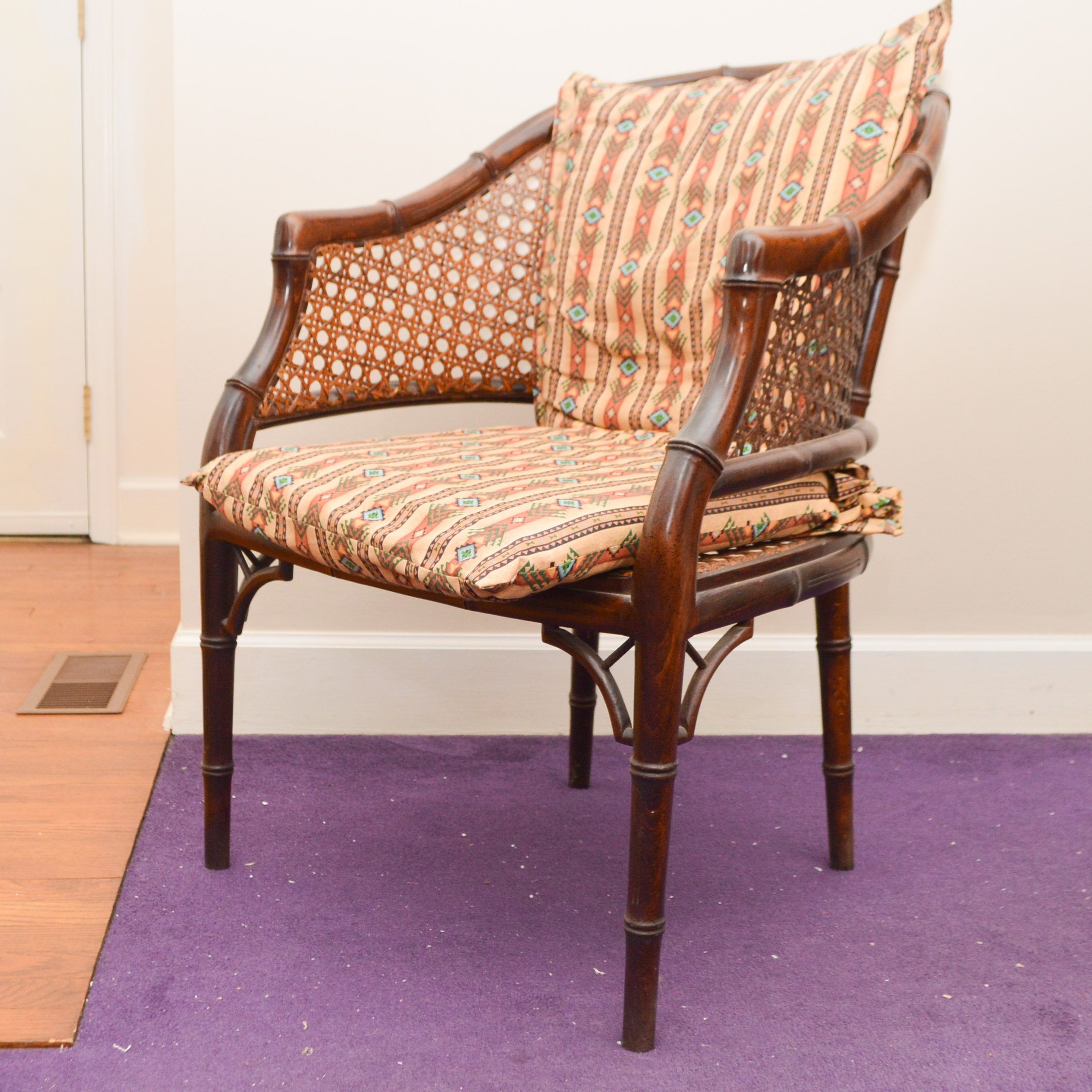 Rattan and Wood Accent Chair