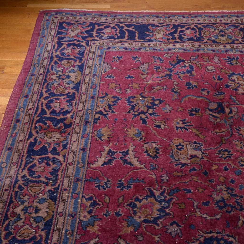 Antique Hand-Knotted Wool Area Rug