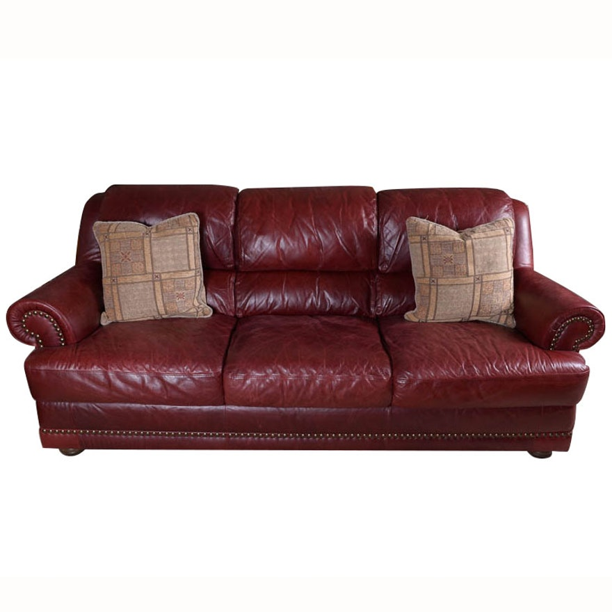 Natuzzi Burgundy Leather Sofa   EBTH
