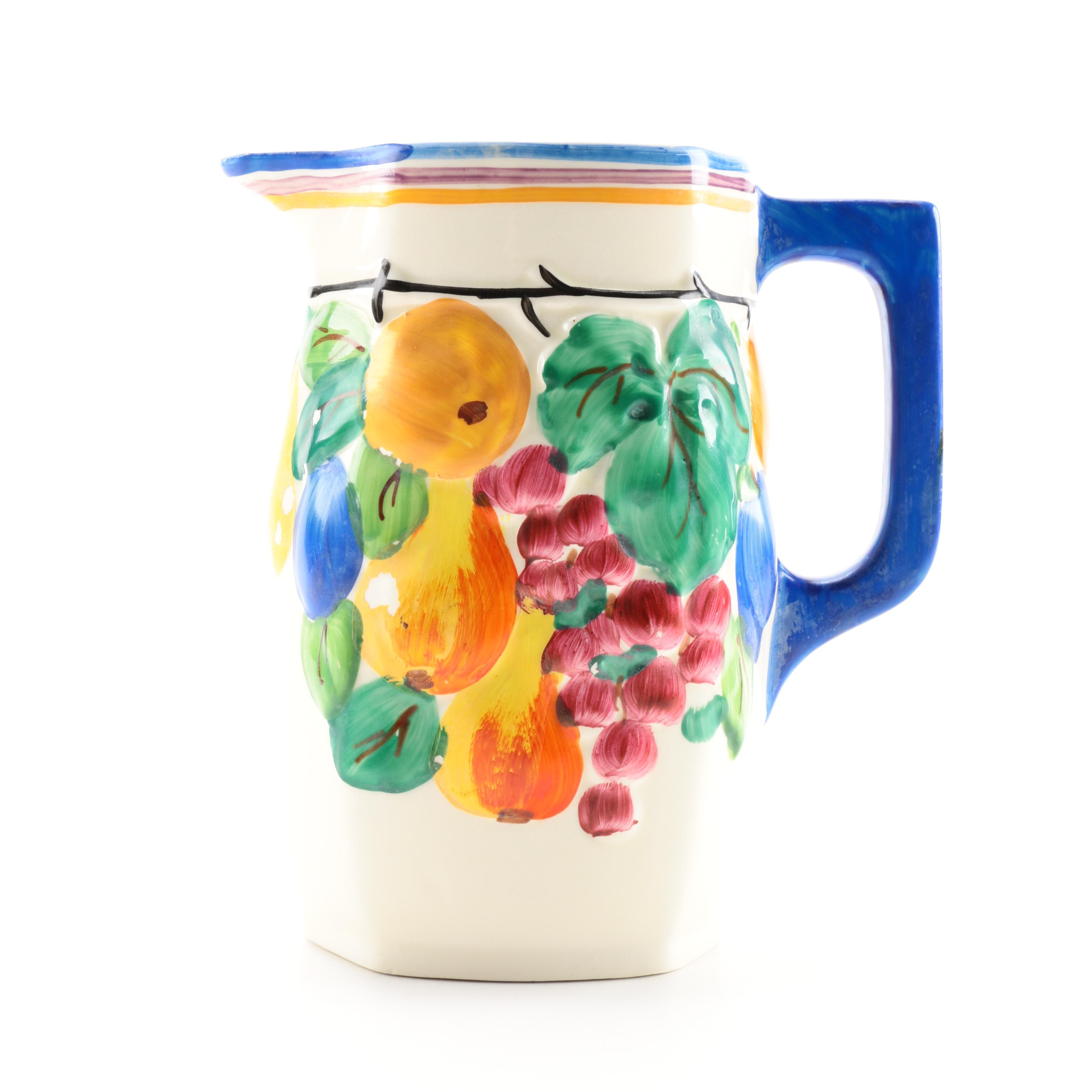 Hand-Painted Czechoslovakia Beverage Pitcher