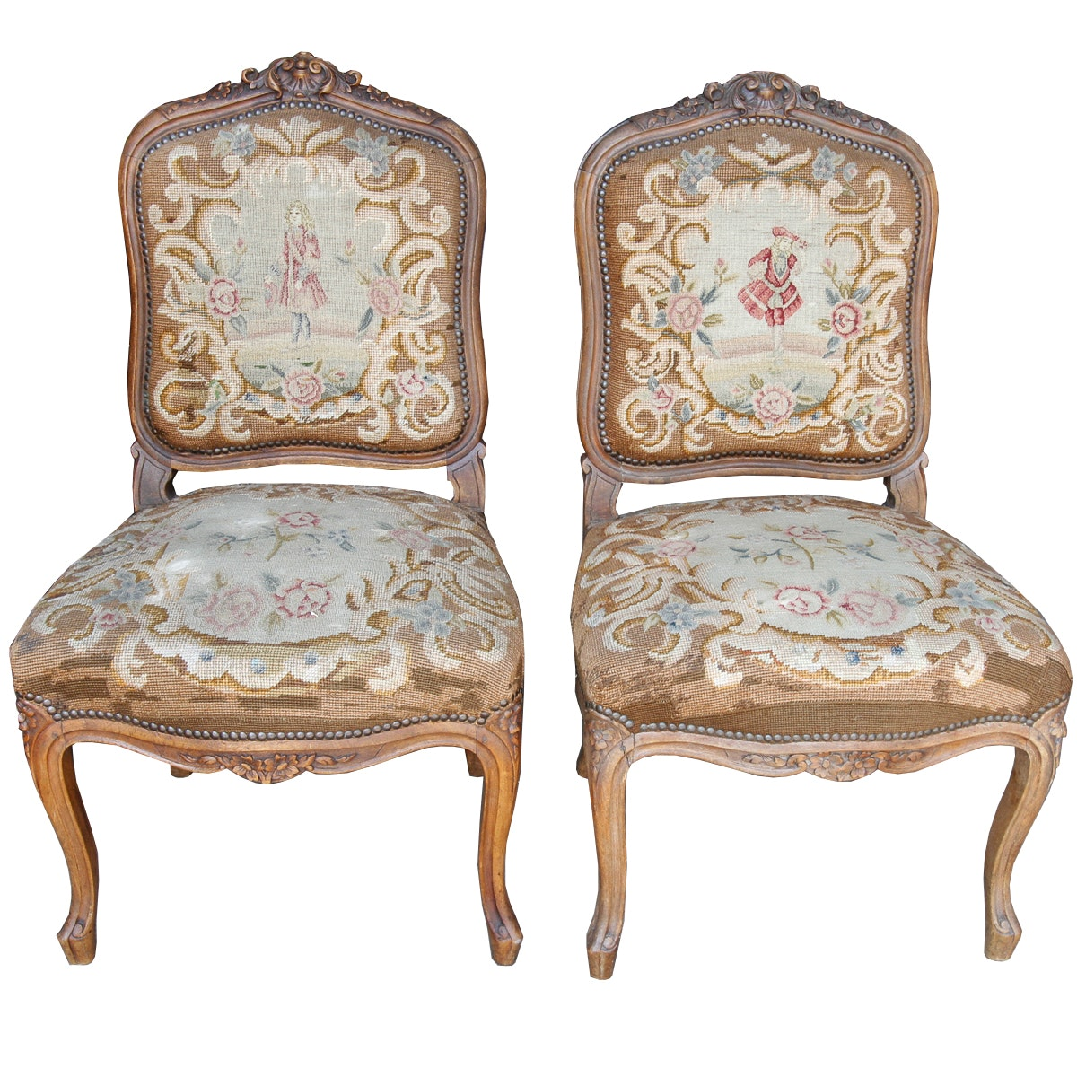 Vintage Louis XV Style Accent Chairs With Needlepoint Upholstery