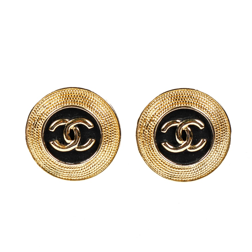 Chanel 1980 S Vintage Gold Toned And Black Enamel Earrings