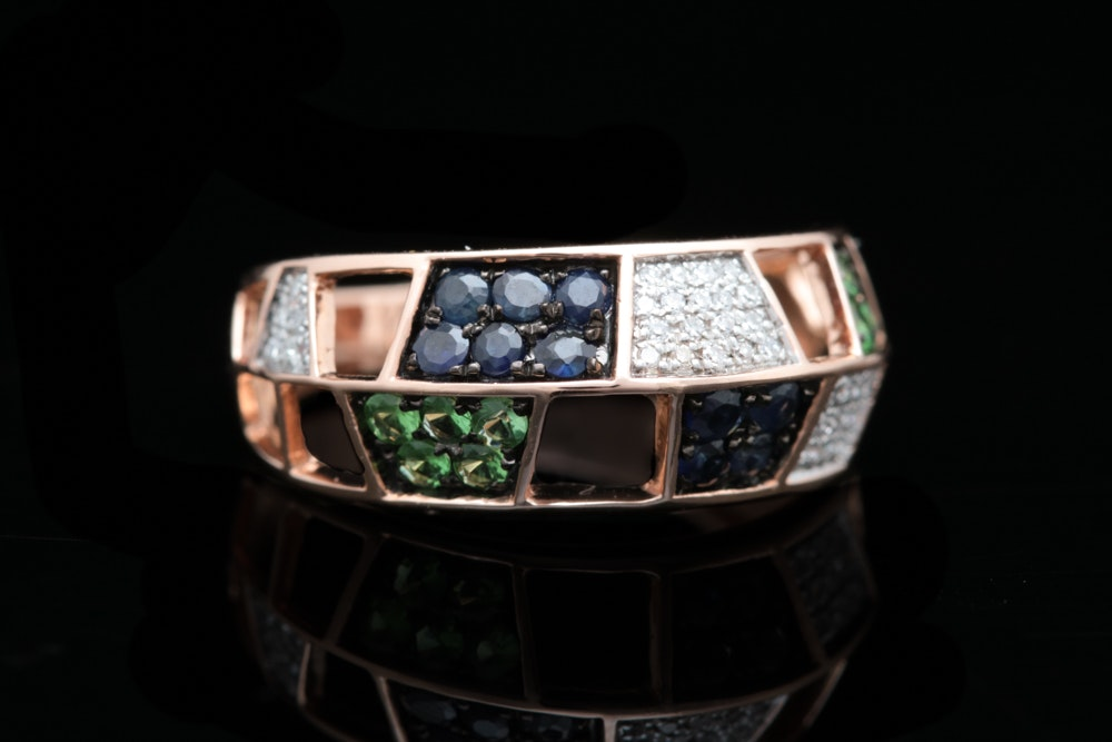 14K Rose Gold, Blue Sapphire, Green Garnet, and Diamond Ring