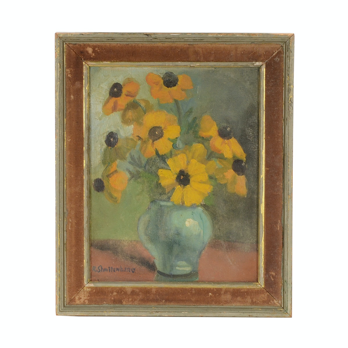 R. Shallenberg Original Floral Still Life Oil on Canvas Board
