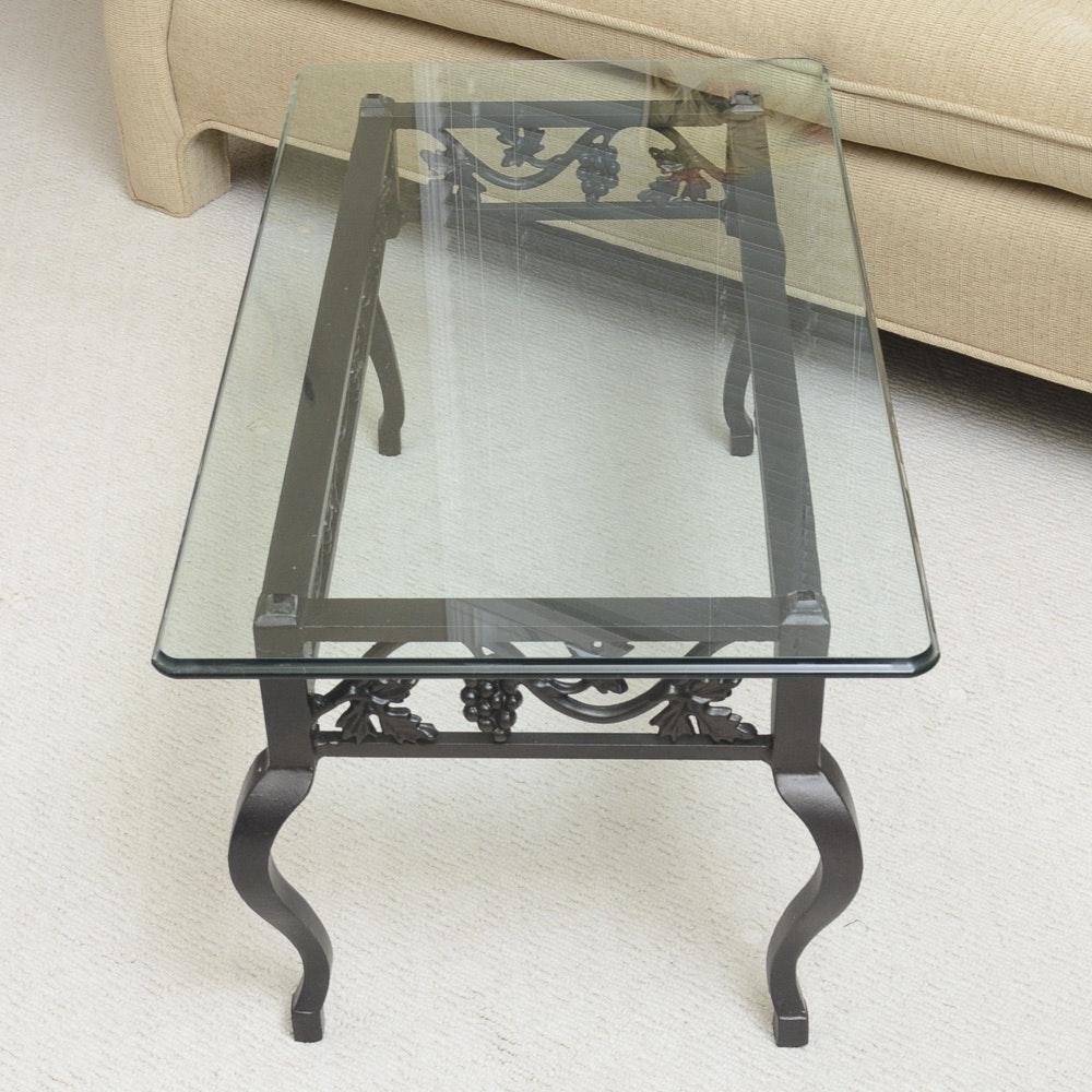 Grape Motif Wrought Iron Glass Top Coffee Table