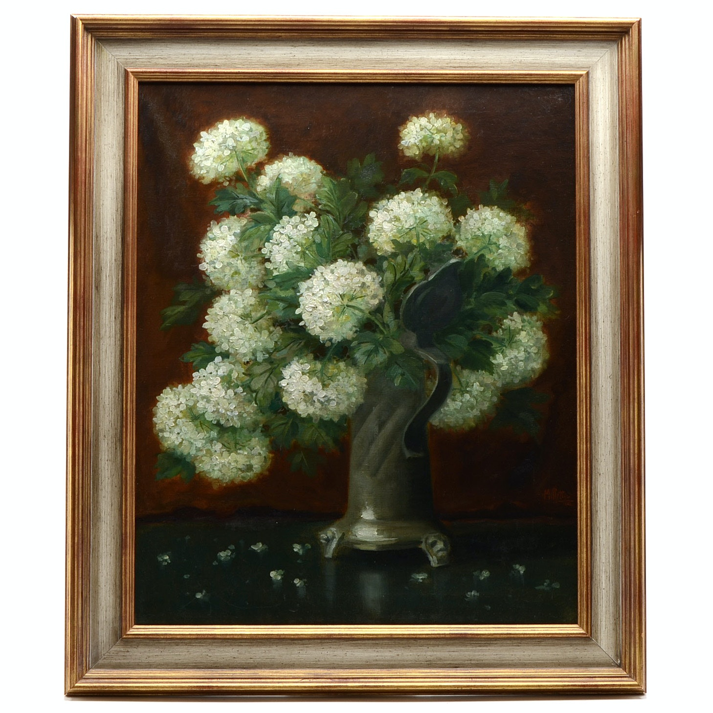 Martin Rettig Original 1906 Oil Floral Still Life on Canvas