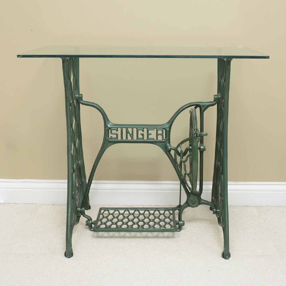 Converted Antique Singer Sewing Table with Glass Top