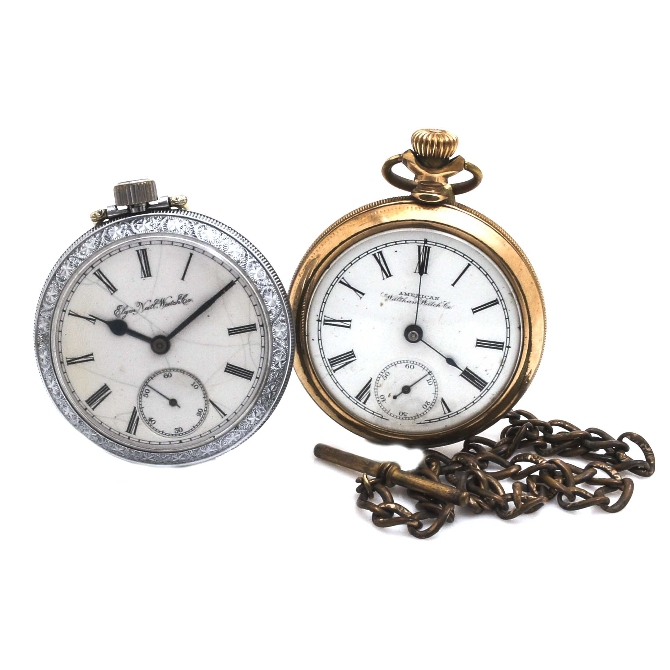 Pair of American Waltham Watch Co. and Elgin Gold Filled and Silver Tone Pocket Watches