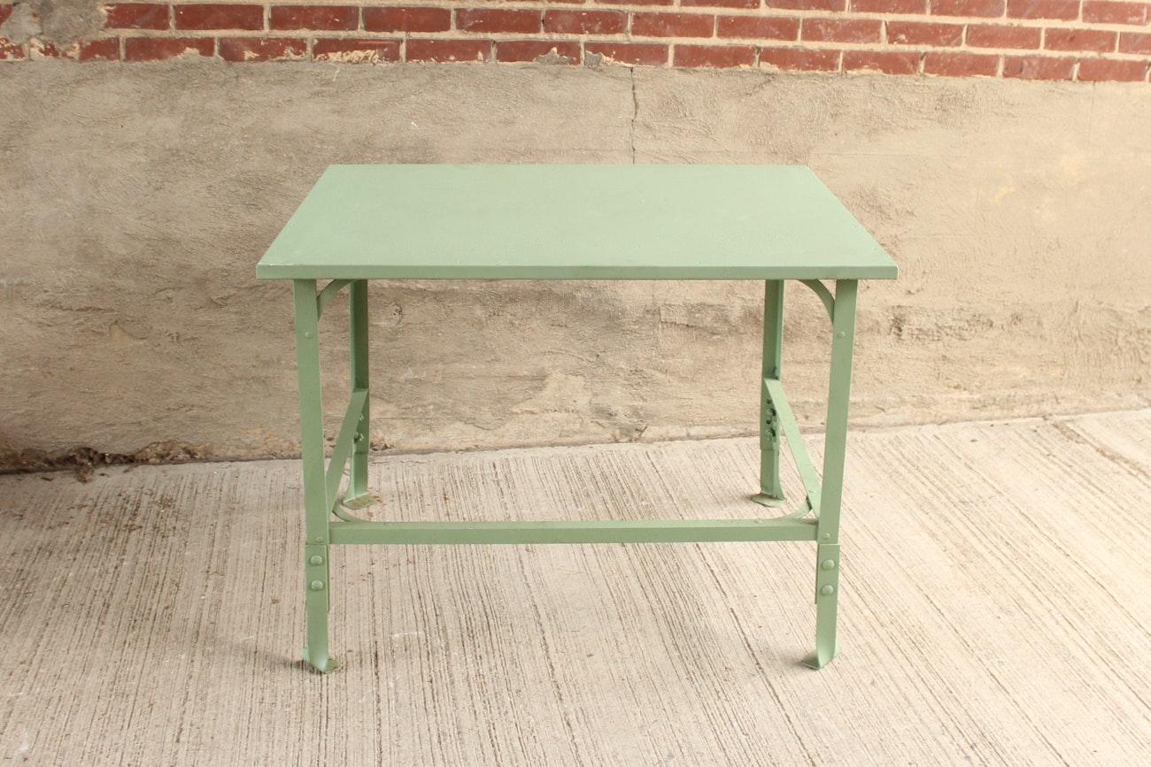 Industrial Mint Green Steel Table