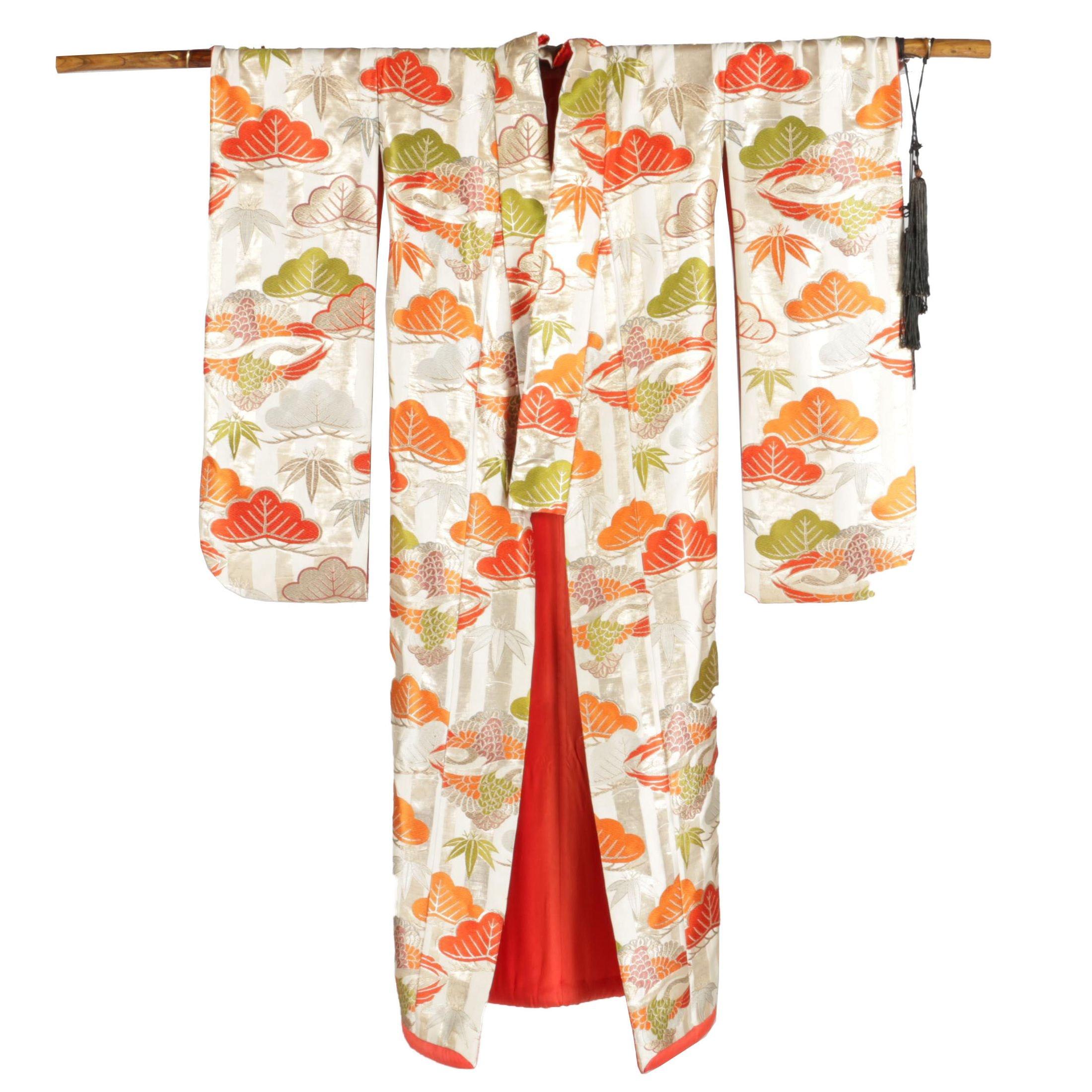 Vintage Japanese Kimono with Display Hanger