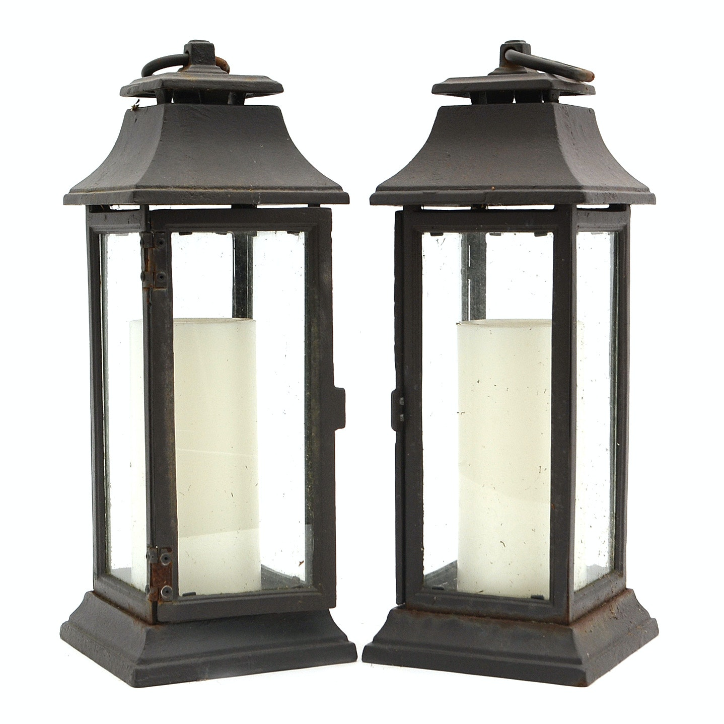Pair of Cast Iron Candle Lanterns