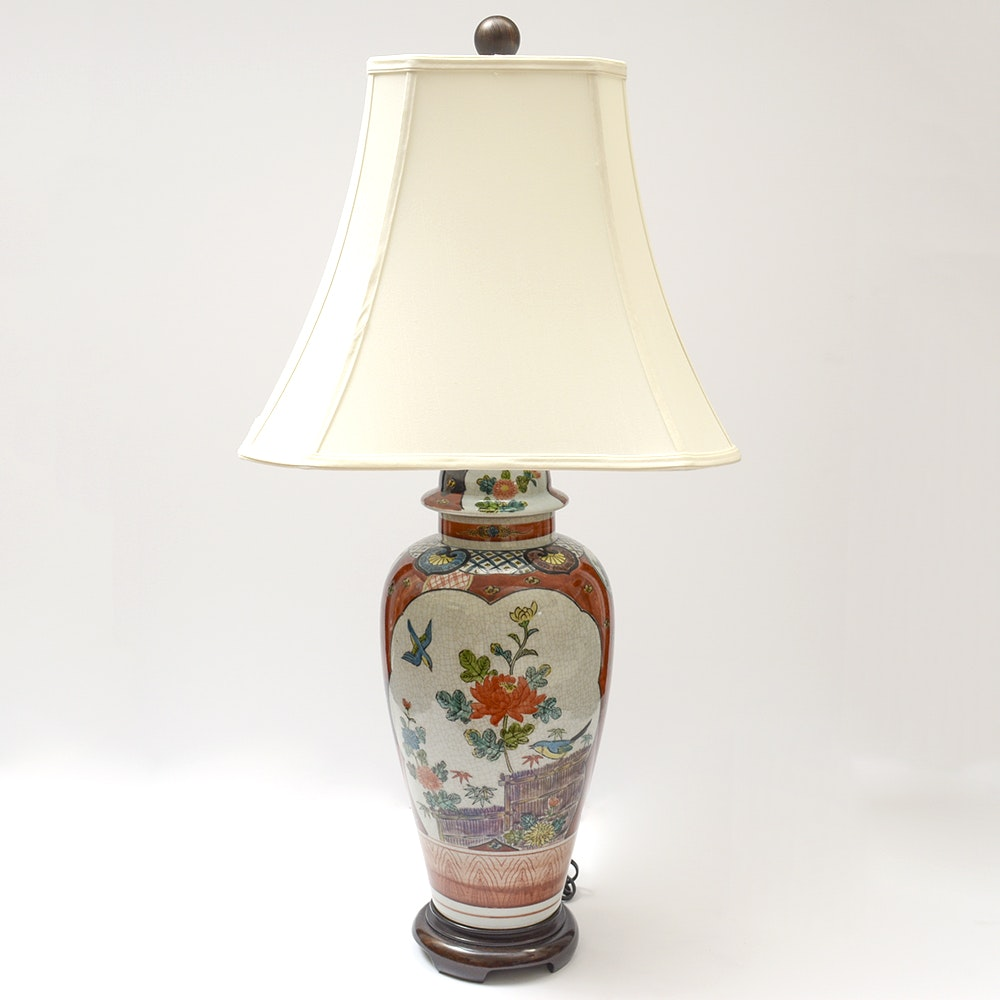 Hand Painted Blue Bird Ginger Jar Table Lamp