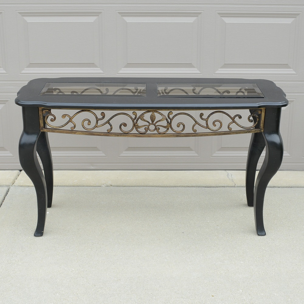 Scrolled Glass Top Console Table