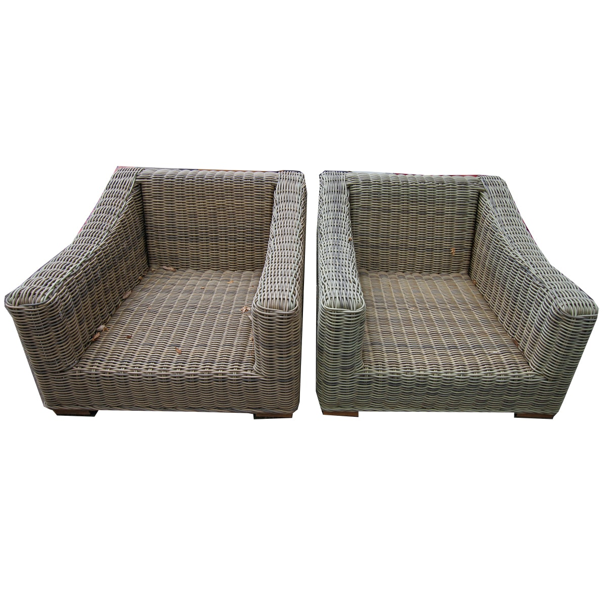 Pair of Outdoor Wicker Lounge Chairs