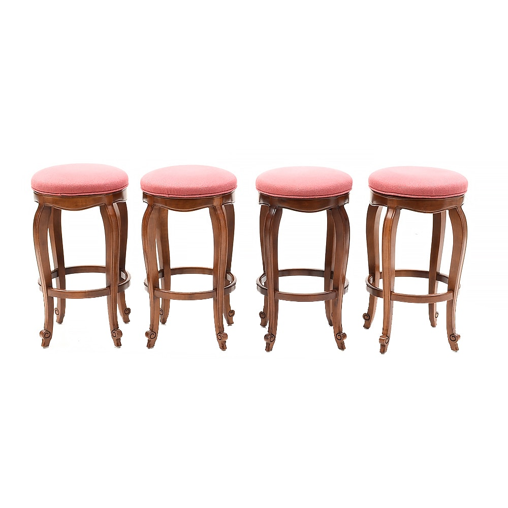 Set of Four Hancock and Moore Swivel Counter Stools