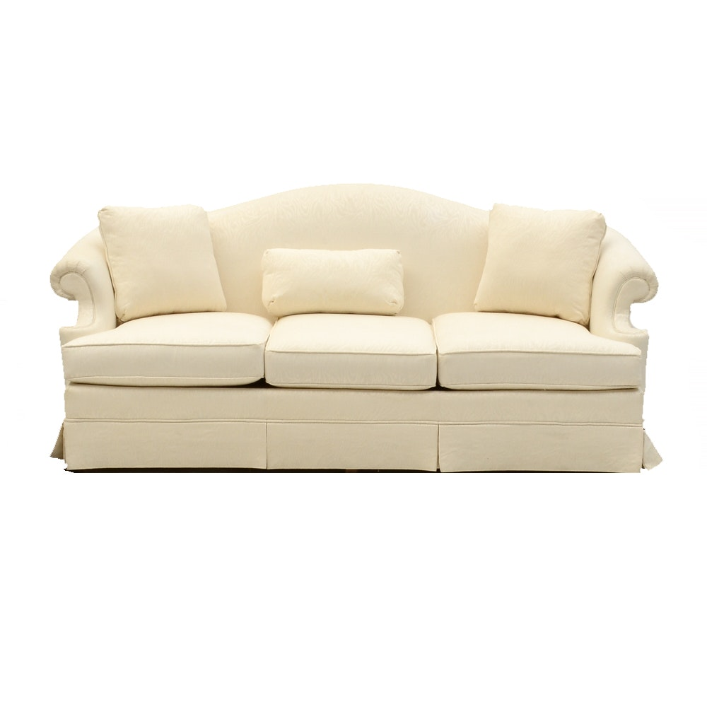 White Contemporary Damask Sofa by Thomasville