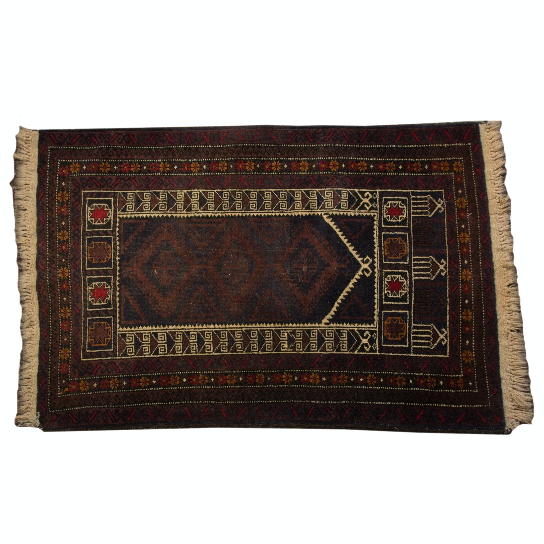 Hand-Knotted Caucasian Kazak Prayer Rug