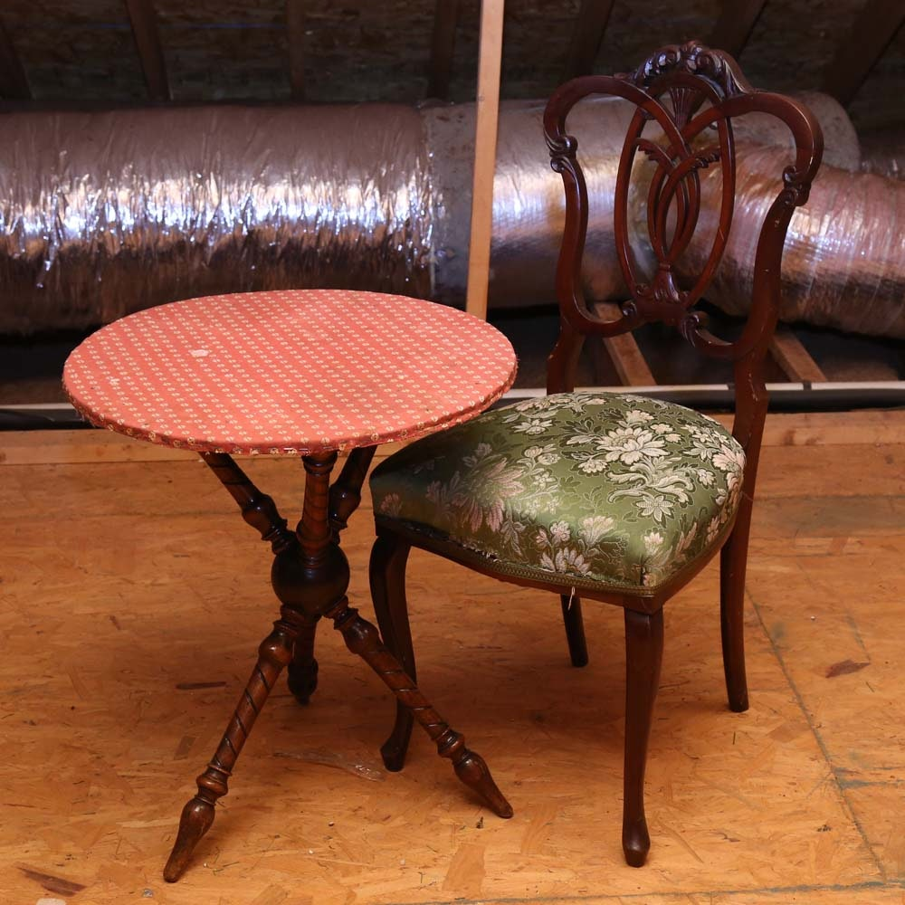 Victorian SIde Chair and Accent Table