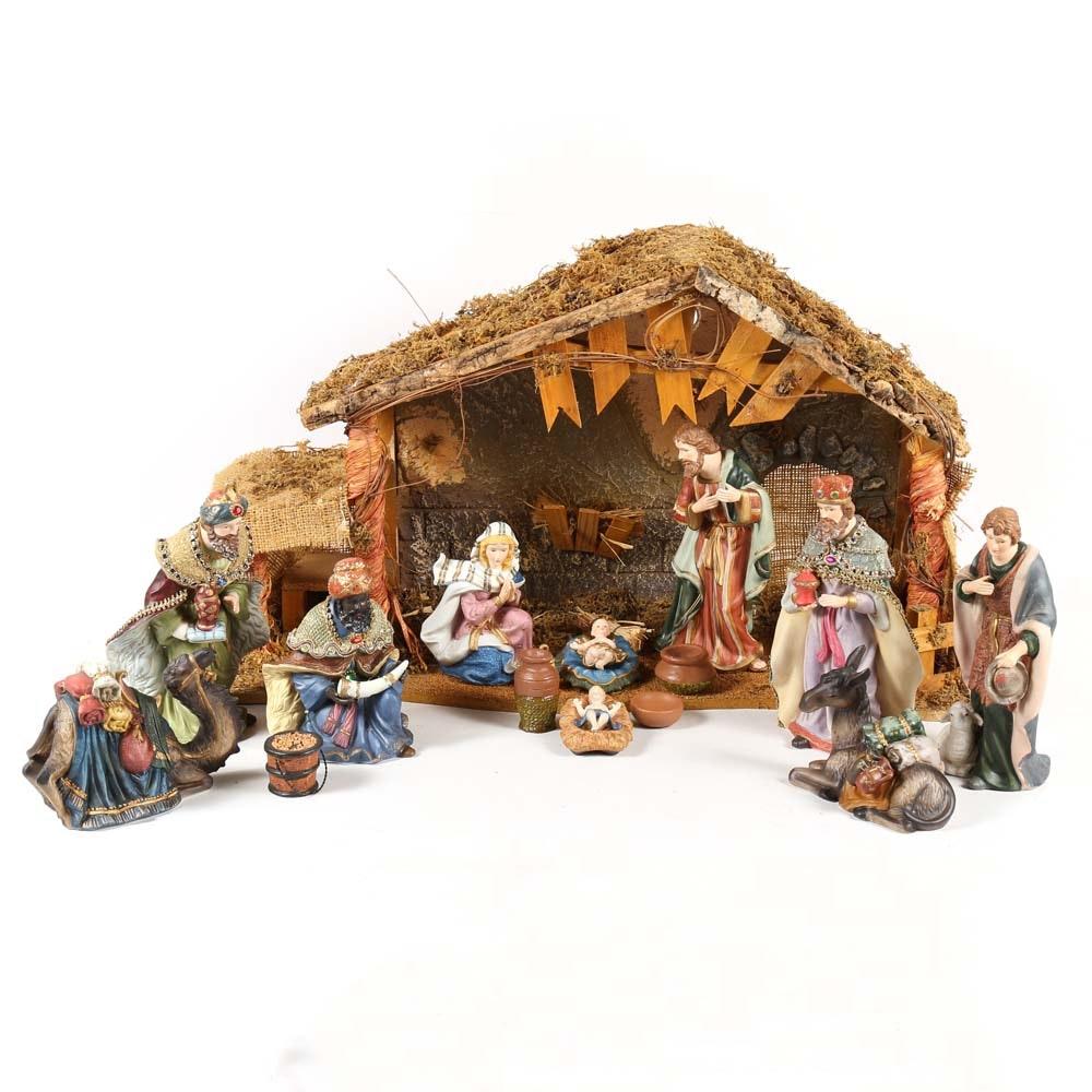 Ceramic Manger Scene with Wood Creche