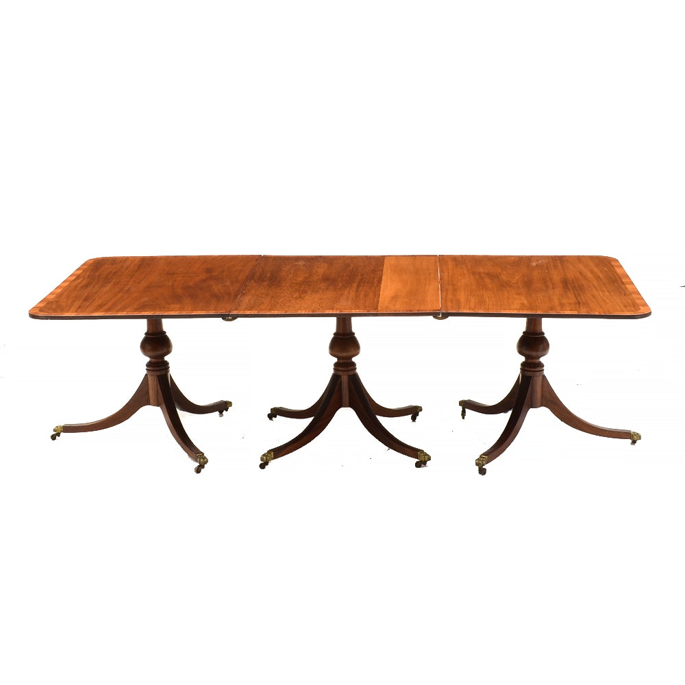 Mahogany George III Style Triple Pedestal Dining Table