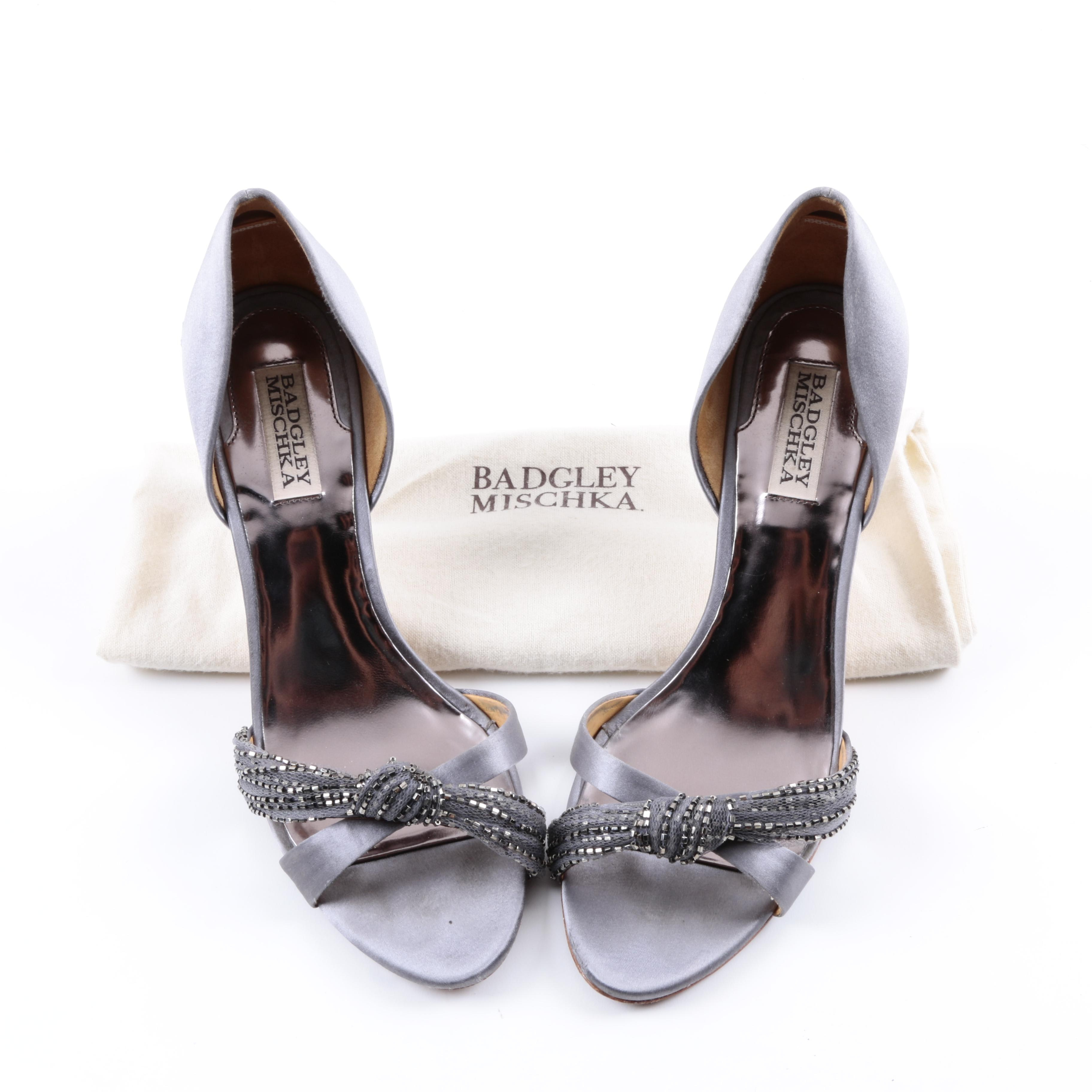 Badgley Mischka Grey Open Toe Stiletto Heels