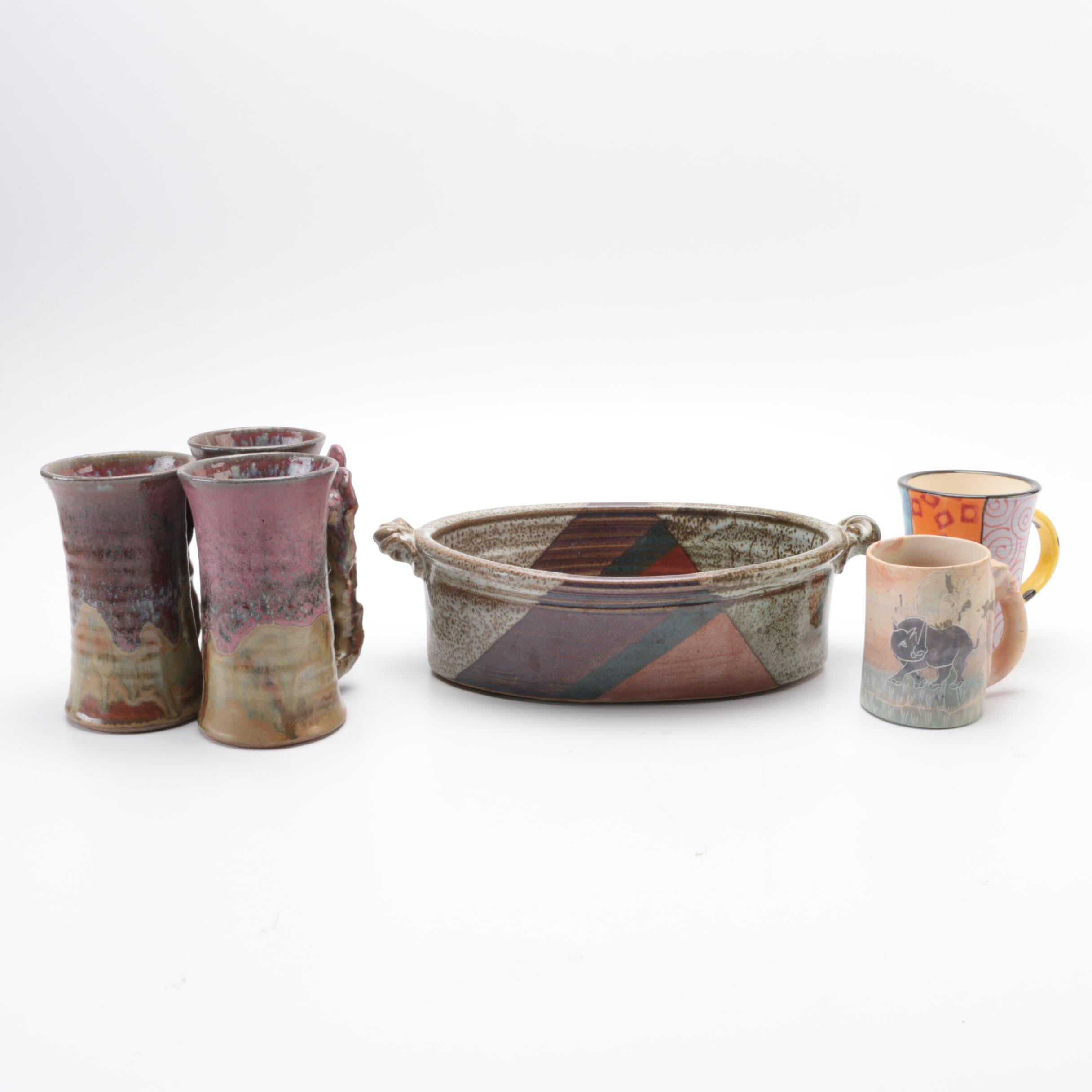 Collection of Hand Thrown and Stone Studio Art Tableware