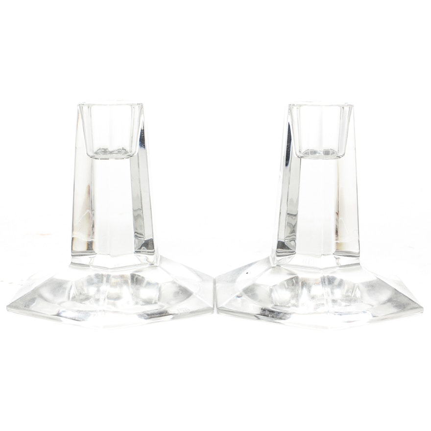 Pair Of Tiffany Co Frank Lloyd Wright Crystal Candle Holders
