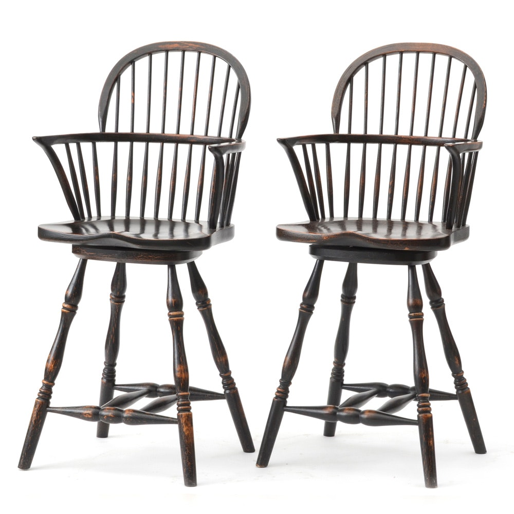 Pair of Windsor Swivel Bar Stools