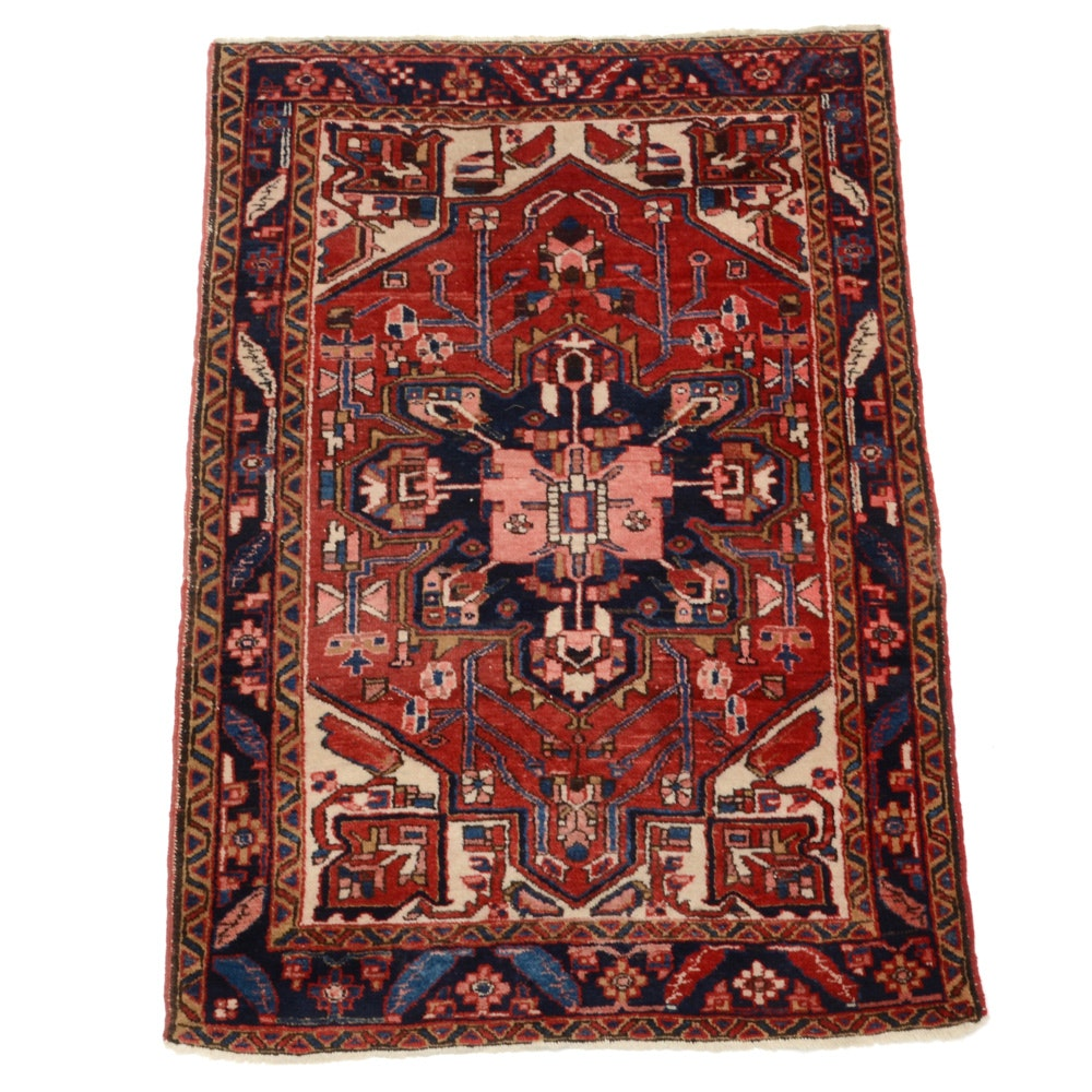 Persian Hand-Knotted Nahavand Wool Area Rug
