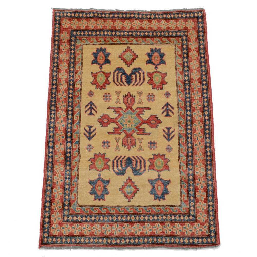 Caucasian Hand-Knotted Kazak Wool Accent Rug