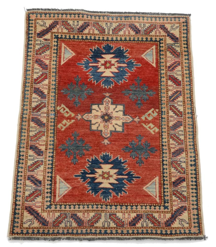Caucasian Hand-Knotted Kazak Wool Area Rug