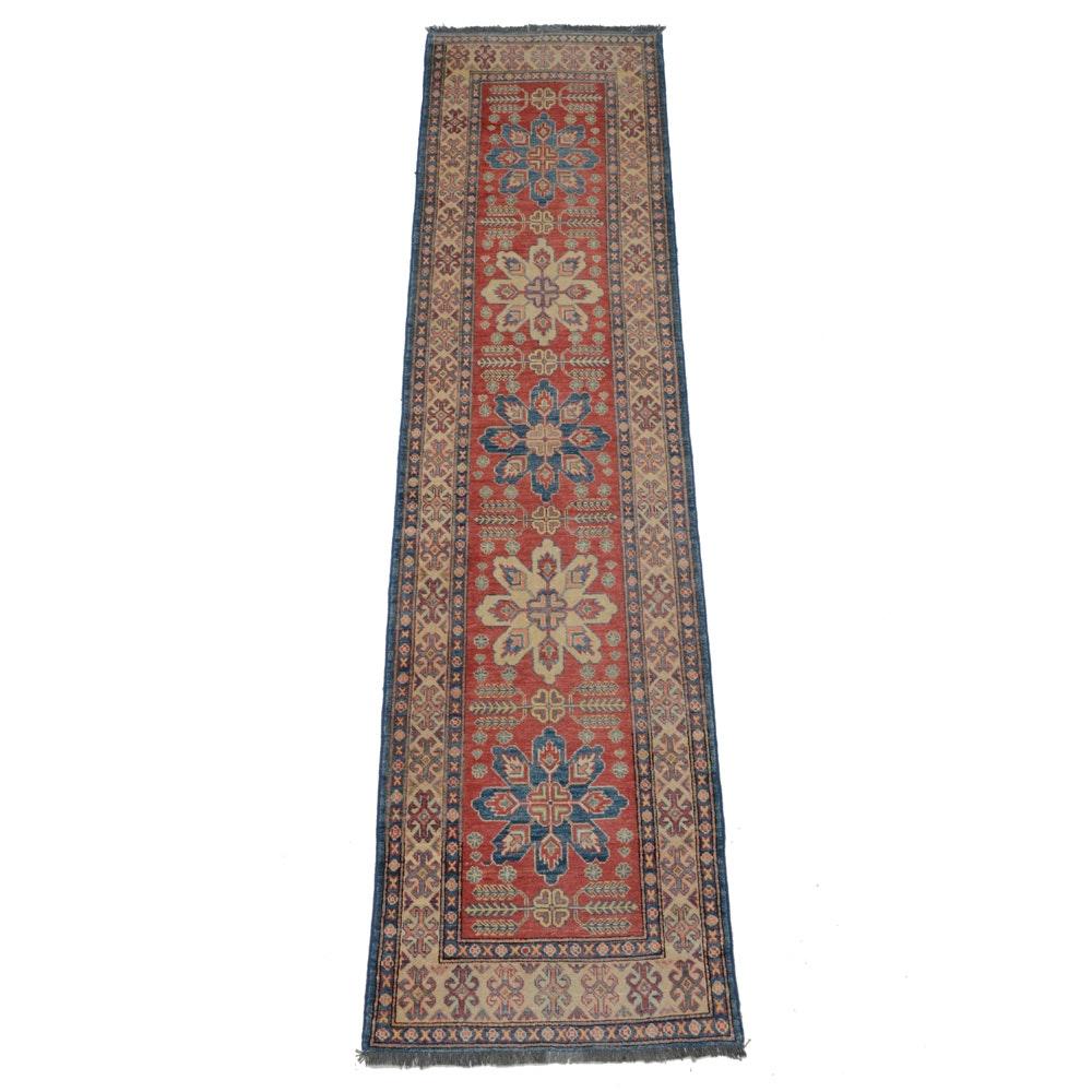 Caucasian Hand-Knotted Kazak Wool Runner Rug