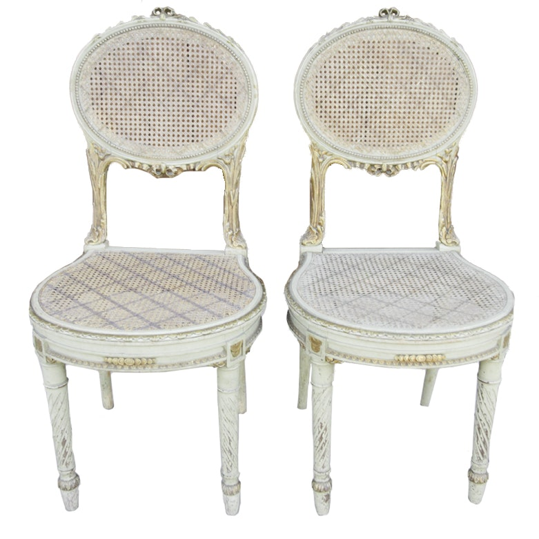 Pair of Vintage Louis XVI Style Parlor Chairs