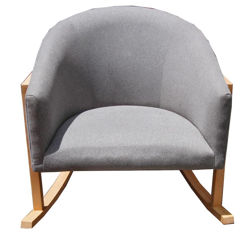 Marvelous Grey Upholstered Tub Chair Rocker By West Elm Evergreenethics Interior Chair Design Evergreenethicsorg