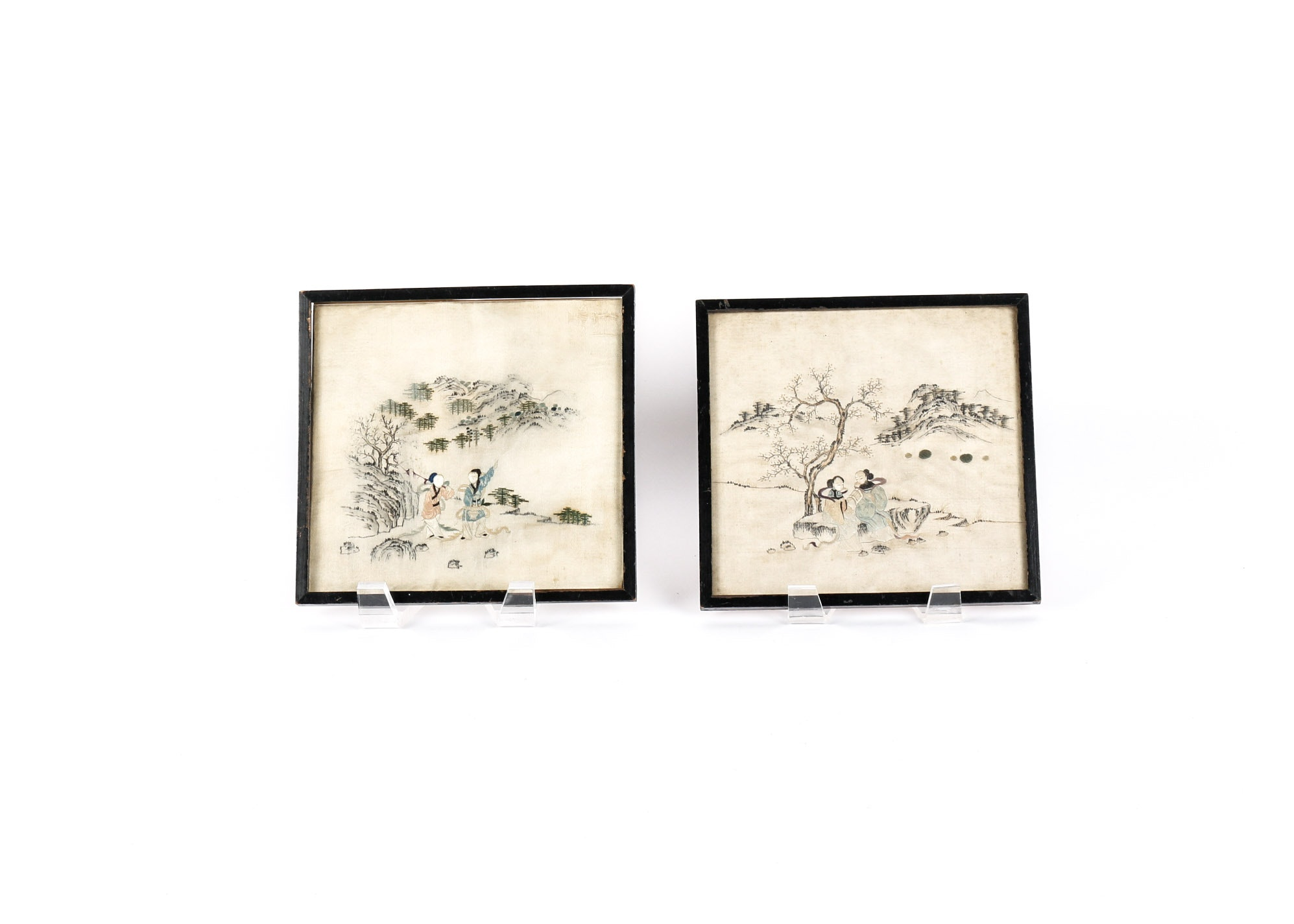 Pair of Antique Framed Chinese Silk Embroideries