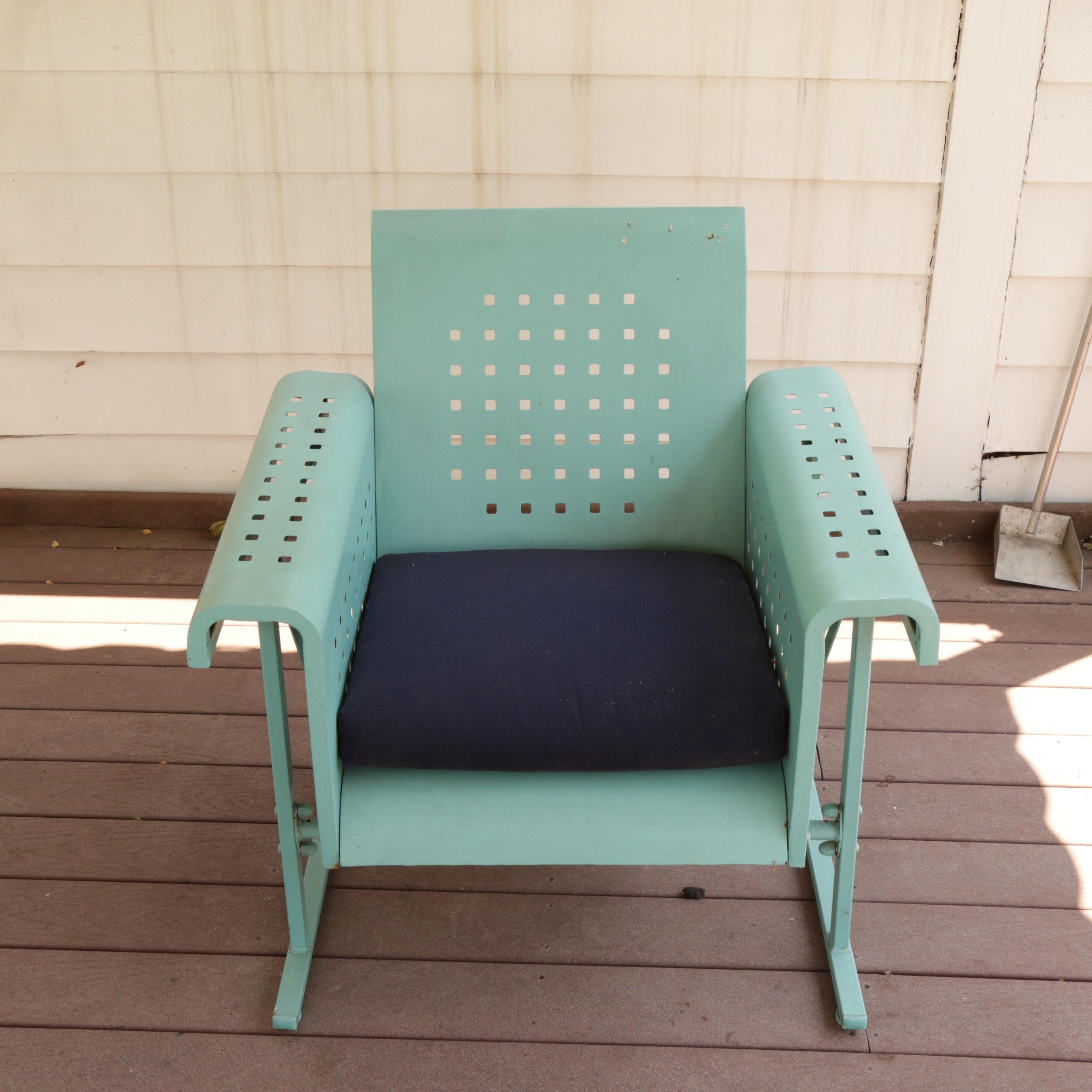 """Grandin Road """"Retro Squares"""" Outdoor Chair Glider in Aqua"""