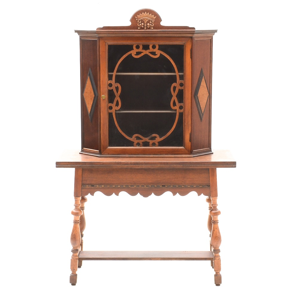 Jacobean Revival Cabinet-on-Table