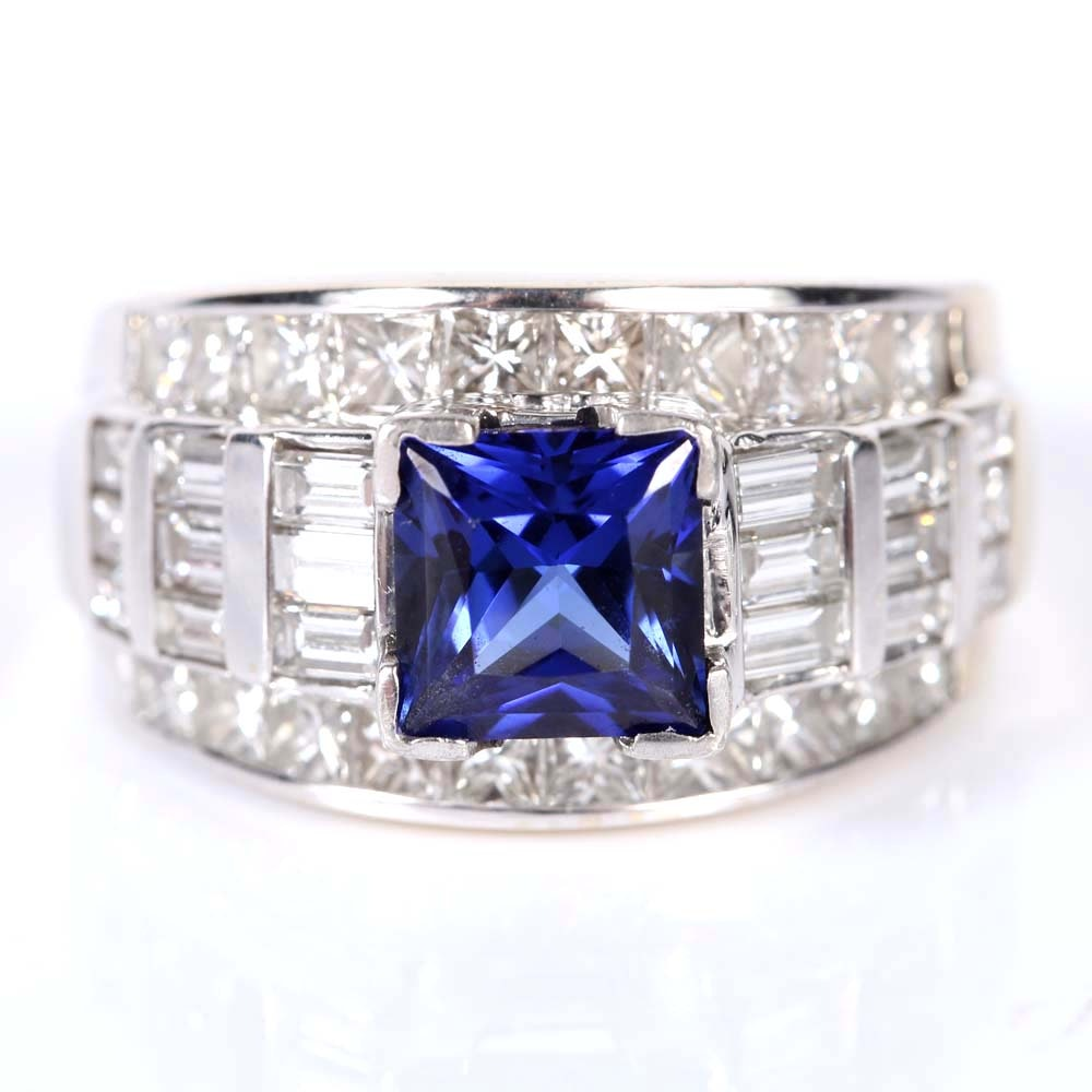 18K White Gold, 2.50 CTW Diamond, and Sapphire Ring