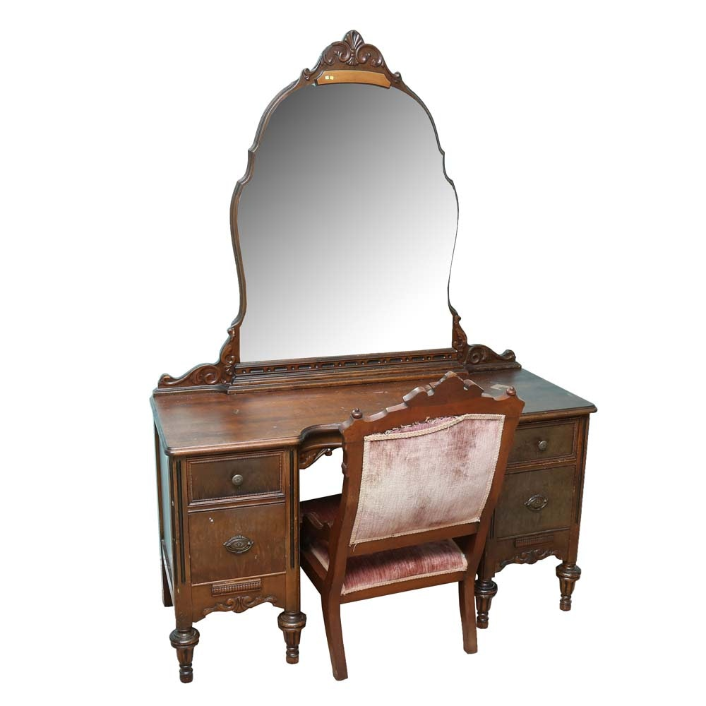 Vintage Victorian Style Vanity with Eastlake Chair