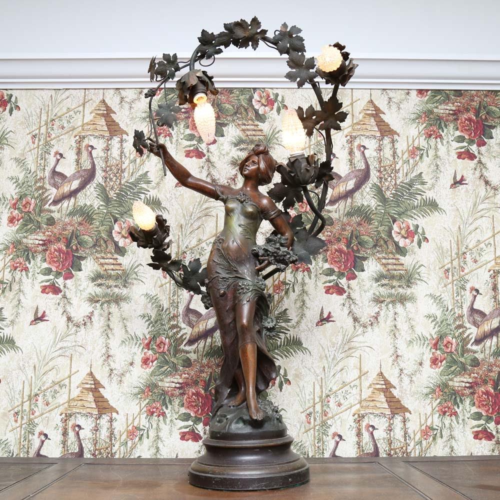 Art Nouveau Style Figural Lamp