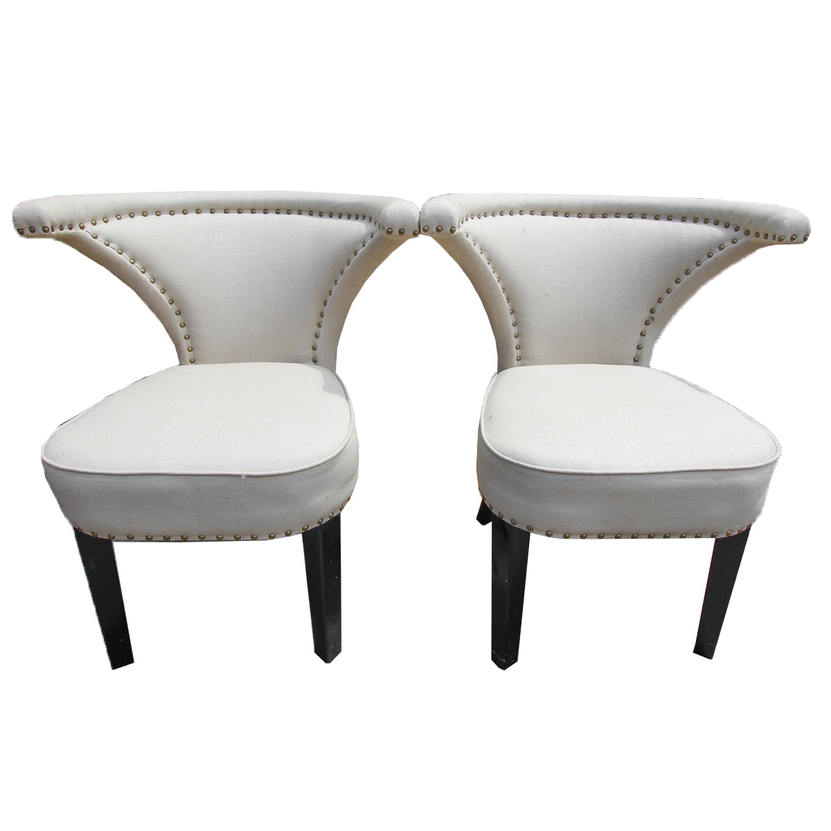 White Upholstered Chairs with Triangular Backs