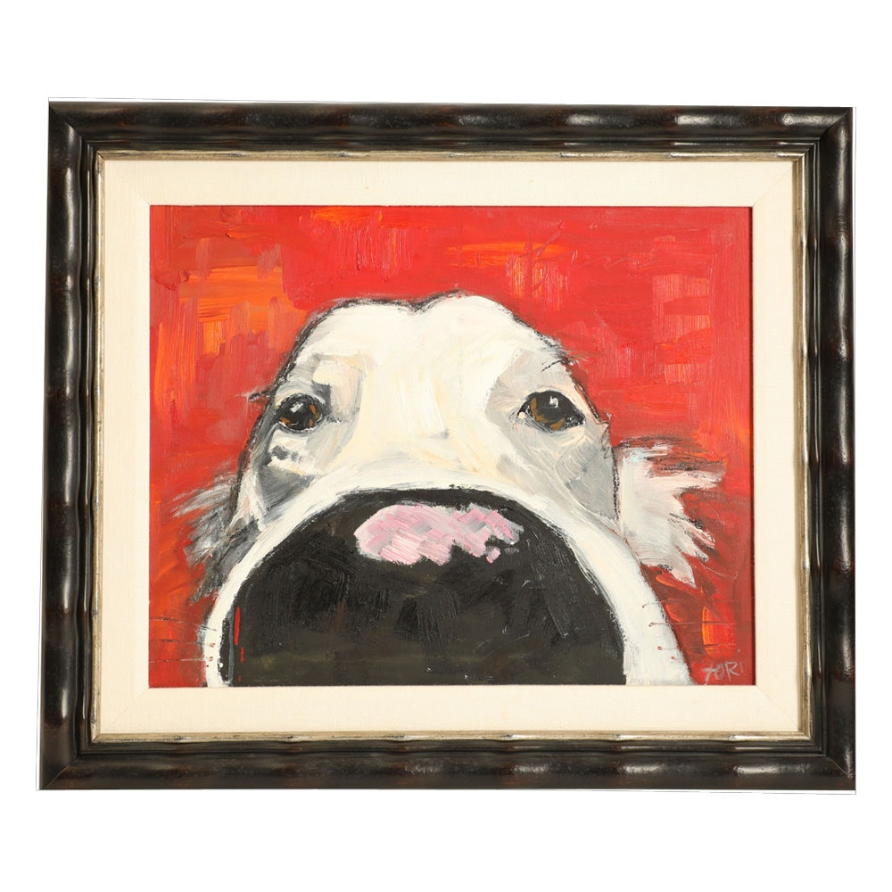 Tori Mitas-Campisi Acrylic on Canvas Board of a Dog's Nose