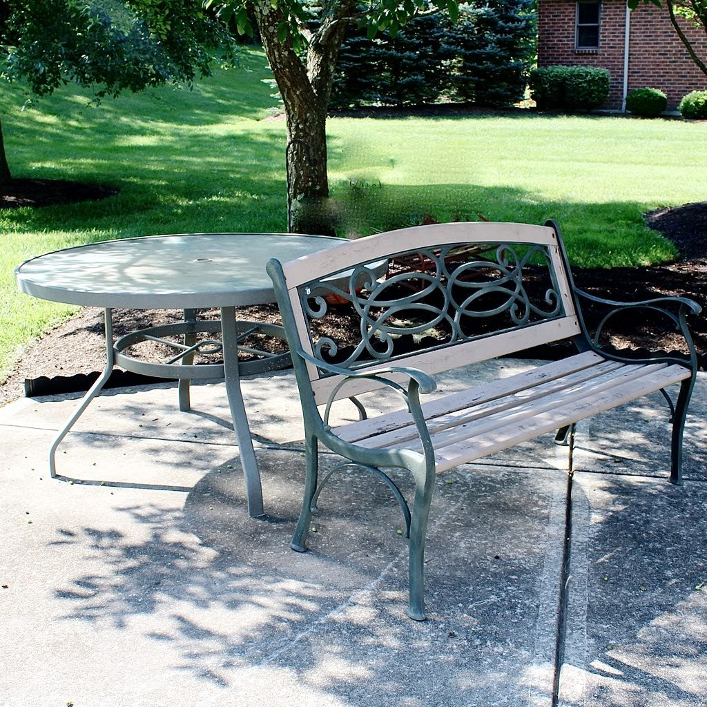 Patio Cast Metal & Wood Bench with Glass Top Round Table