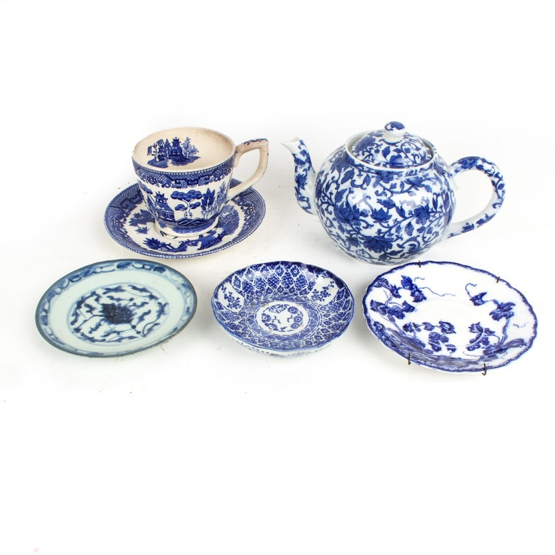 """Blue and White Tableware Including Kenworth Flow Blue, Williams-Sonoma, and  """"Blue Willow"""" Ironstone"""