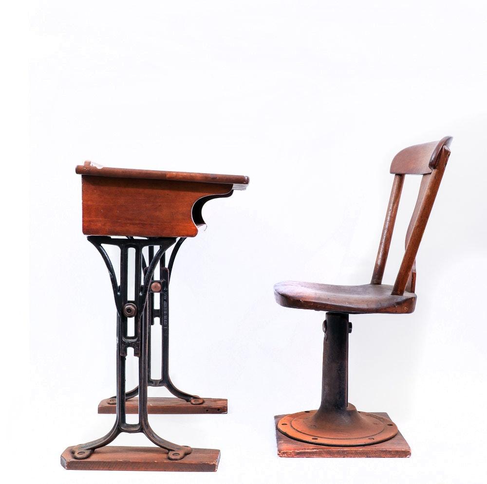 Antique Chandler Cast Iron School Desk and Chair