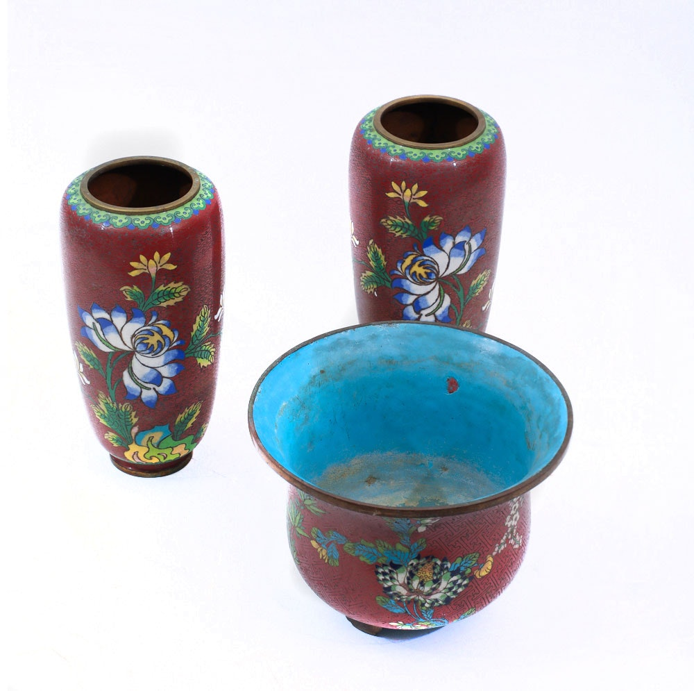 Collection of Asian Inspired Cloisonne  Vases and Planter