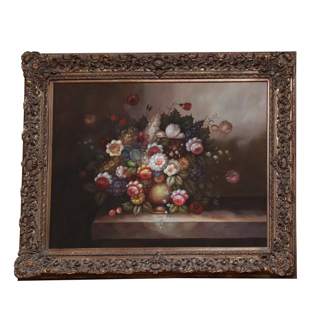 Large-Scale Dutch Style Floral Acrylic Still Life Painting on Canvas