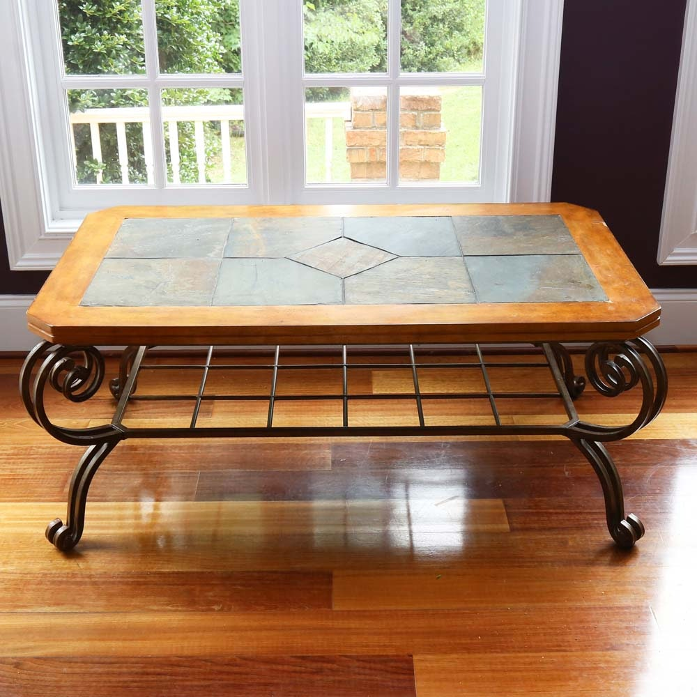 Contemporary Slate Top Coffee Table