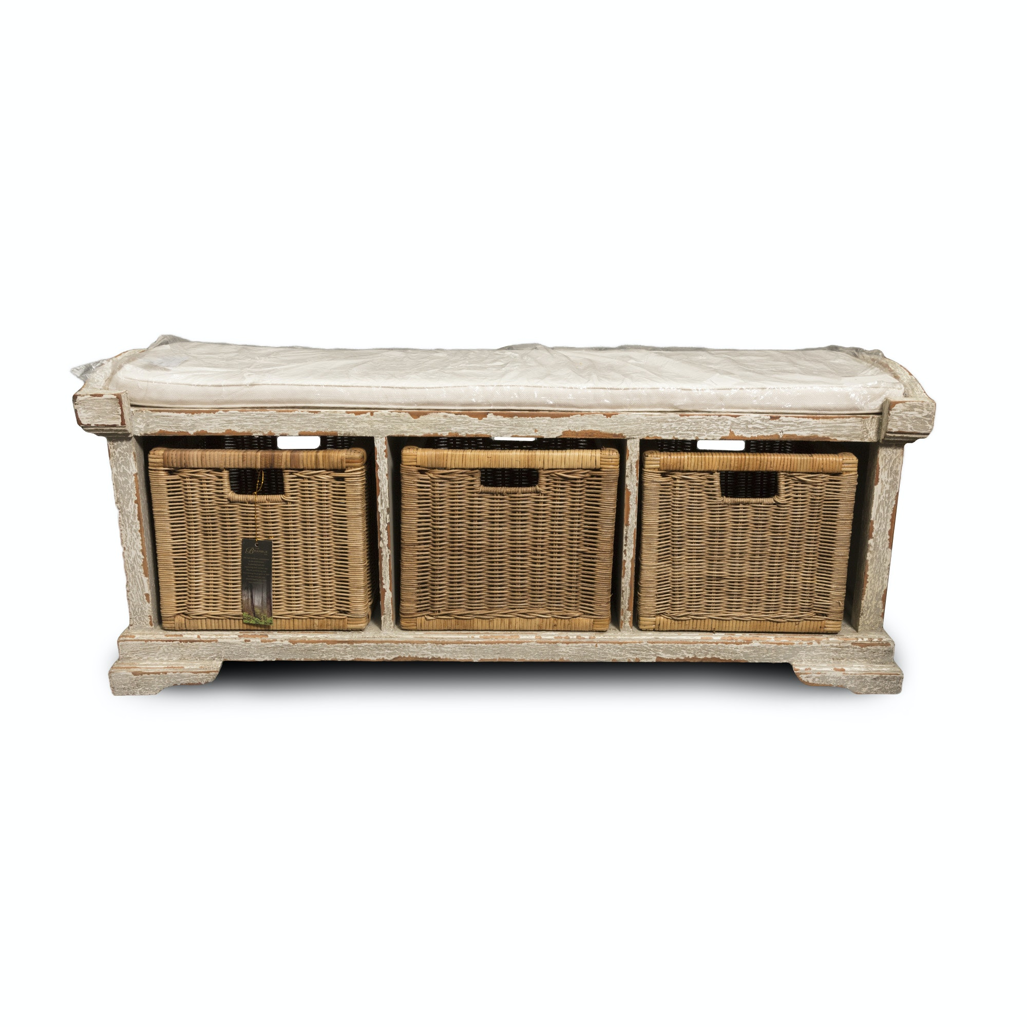 Rustic Style Storage Bench with Wicker Baskets